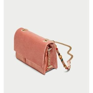 Velvet crossbody bag with jeweled straps